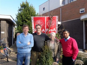 Ons stralende PvdA Lansingerland campagneteam 2014: Raymond Tans, Rene van den Heuvel, Joke Fraterman & Naushad Boedhoe
