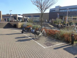 Keurige parkeerplaatsen voor fietsen & brommers in Berkel centrum. Ruim baan voor rolstoelers!